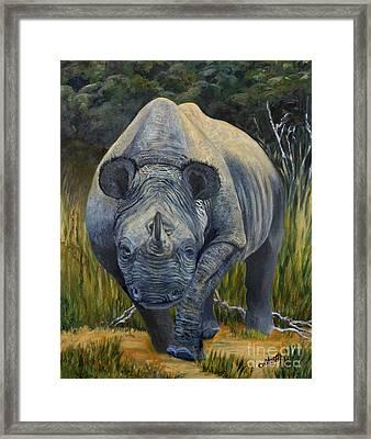 Black Rhino Framed Print by Caroline Street