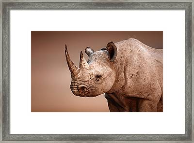 Black Rhinoceros Portrait Framed Print by Johan Swanepoel