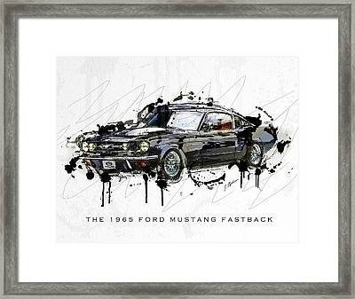 Black Stallion 1965 Ford Mustang Fastback #3 Framed Print by Gary Bodnar