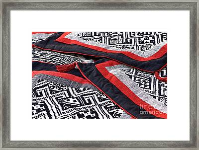 Black Thai Fabric 04 Framed Print by Rick Piper Photography