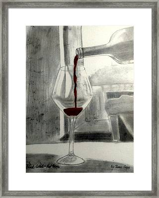 Black White And Red Wine Framed Print by Chenee Reyes