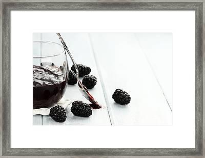 Blackberry Jam And Spoon Framed Print by Stephanie Frey