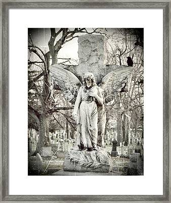 Blackbird On Angel Cross Framed Print by Gothicolors Donna Snyder