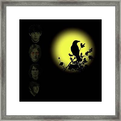 Blackbird Singing In The Dead Of Night Framed Print by David Dehner