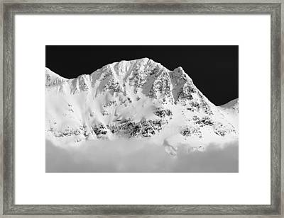 Blackcomb Above The Clouds In Black And White Framed Print by Pierre Leclerc Photography