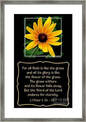 Blackeyed Susan With Bible Quote From 1 Peter Framed Print by Rose Santuci-Sofranko