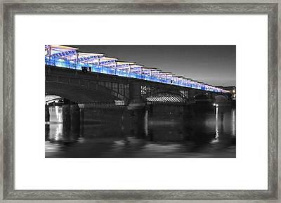 Blackfriars Bridge London Thames At Night  Framed Print by David French