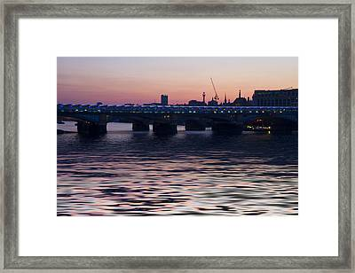Blackfriars Bridge London Thames At Night Dusk Framed Print by David French
