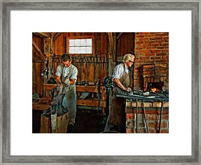 Blacksmith And Apprentice Impasto Framed Print by Steve Harrington