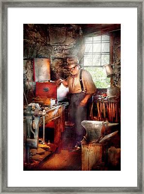 Blacksmith - The Smithy  Framed Print by Mike Savad