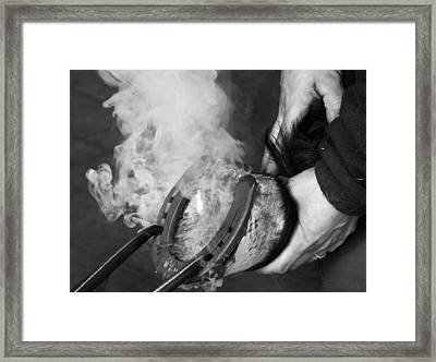 Blacksmith With Horseshoe - Traditional Craft Framed Print by Matthias Hauser