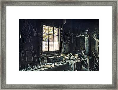 Blacksmiths Workbench - One October Afternoon Framed Print by Gary Heller