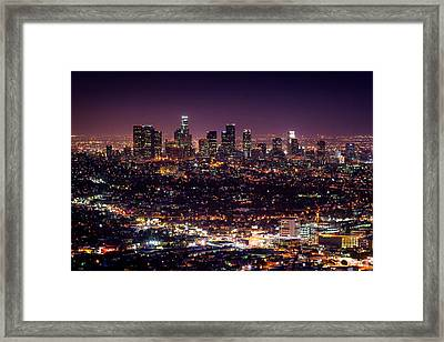 Los Angeles Skyline Framed Print by Alexis Birkill