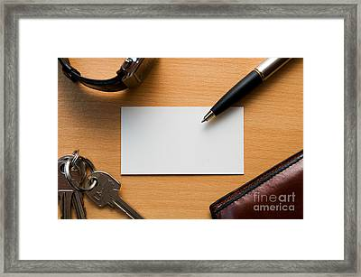 Blank Card In Business Workplace Framed Print by Michal Bednarek