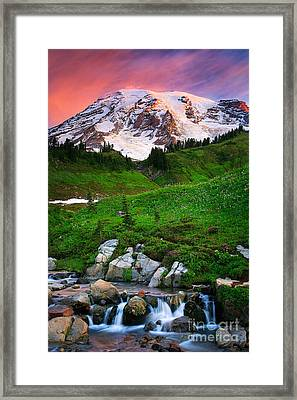 Blazing Dawn Framed Print by Inge Johnsson