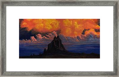 Blazing Skys Of Shiprock Framed Print by Timithy L Gordon