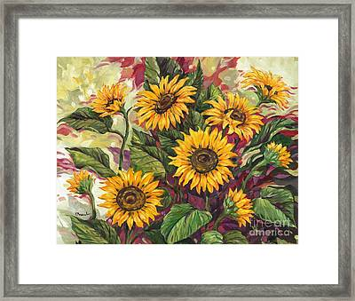 Blazing Sunflowers Framed Print by Paul Brent