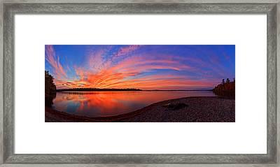 Blazing Sunset At Pocomoonshine Panorama Framed Print by Bill Caldwell -        ABeautifulSky Photography
