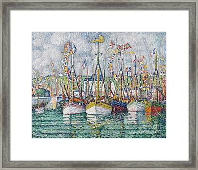 Blessing Of The Tuna Fleet At Groix Framed Print by Paul Signac