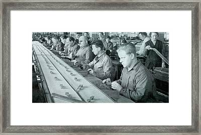 Blind Workers On A Production Line Framed Print by Universal History Archive/uig