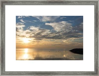 Blinding Bright Sunrise With A Sundog Framed Print by Georgia Mizuleva