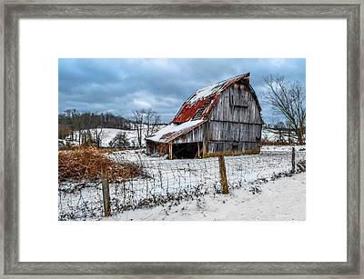 Blizzard Barn Framed Print by Brian Stevens