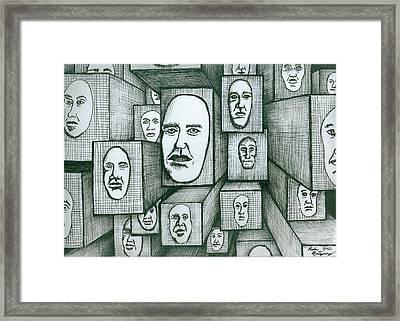 Block Head Framed Print by Richie Montgomery