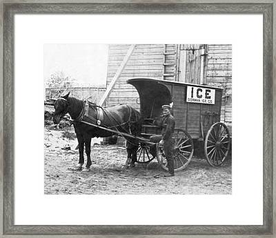 Block Ice Delivery Wagon Framed Print by Underwood Archives