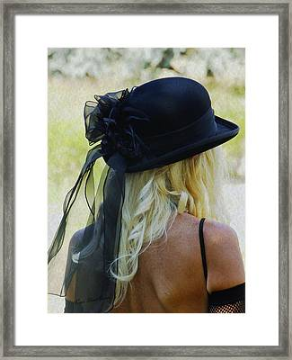 Blonde In Black Hat Framed Print by Kae Cheatham
