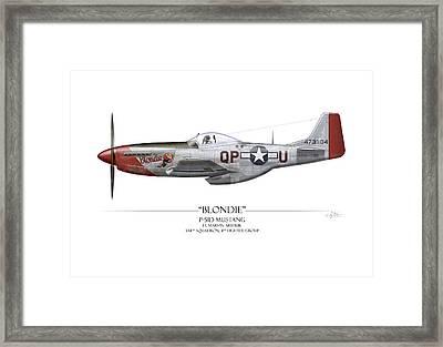 Blondie P-51d Mustang - White Background Framed Print by Craig Tinder