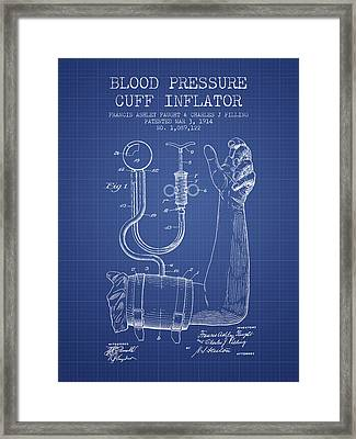 Blood Pressure Cuff Patent From 1914 - Blueprint Framed Print by Aged Pixel