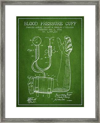 Blood Pressure Cuff Patent From 1914 -green Framed Print by Aged Pixel
