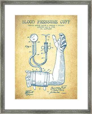 Blood Pressure Cuff Patent From 1914 - Vintage Paper Framed Print by Aged Pixel