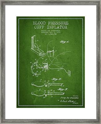 Blood Pressure Cuff Patent From 1970 - Green Framed Print by Aged Pixel
