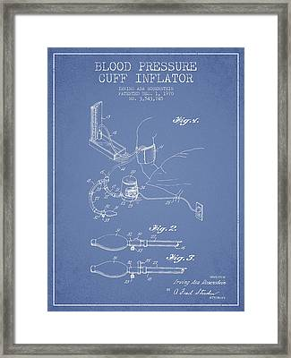 Blood Pressure Cuff Patent From 1970 - Light Blue Framed Print by Aged Pixel