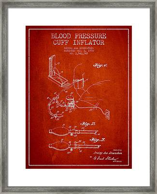 Blood Pressure Cuff Patent From 1970 - Red Framed Print by Aged Pixel