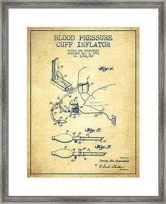 Blood Pressure Cuff Patent From 1970 - Vintage Framed Print by Aged Pixel