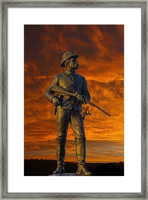 Bloody Sunset 2nd Pennsylvania Calvry Monument Framed Print by Randy Steele