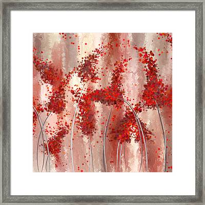 Blooming Passion- Marsala Art Framed Print by Lourry Legarde