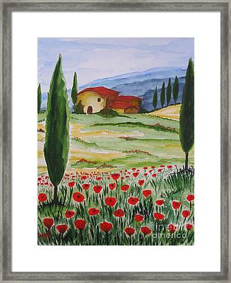 Blooming Poppy In Tuscany Framed Print by Christine Huwer
