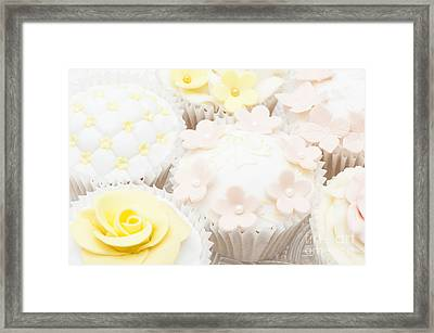 Blossoms And Bows Cupcake Framed Print by Anne Gilbert