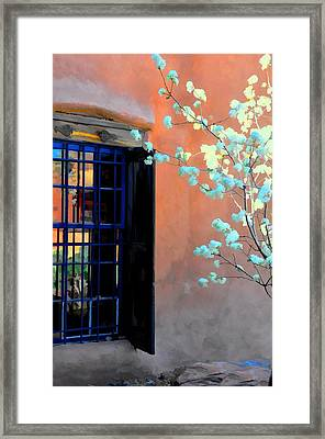 Blossoms And Stucco Framed Print by Jan Amiss Photography