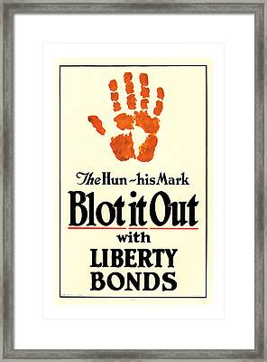 Blot It Out World War 1 Liberty Bond Art Framed Print by Presented By American Classic Art