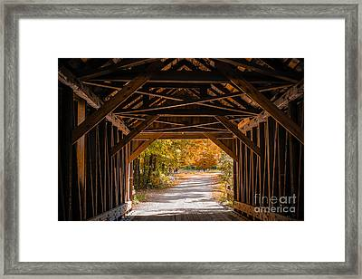 Blow-me-down Covered Bridge Cornish New Hampshire Framed Print by Edward Fielding