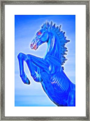 Blucifer The Rearing Blue Mustang Horse Framed Print by James BO  Insogna