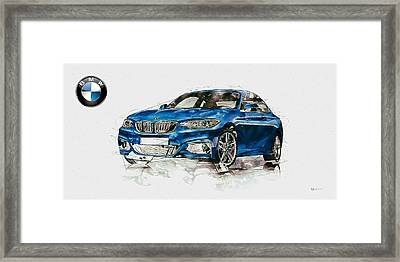 Blue 2014 Bmw 2 Series Coupe With 3d Badge  Framed Print by Serge Averbukh