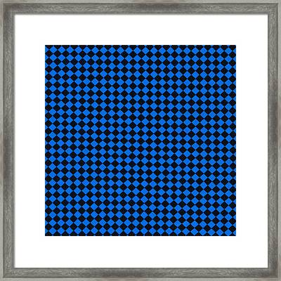 Blue And Black Checkered Pattern Cloth Background Framed Print by Keith Webber Jr