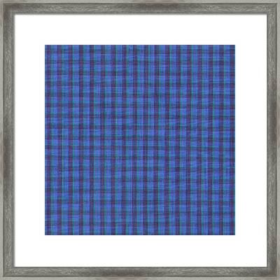 Blue And Green Checkered Pattern Fabric Background Framed Print by Keith Webber Jr