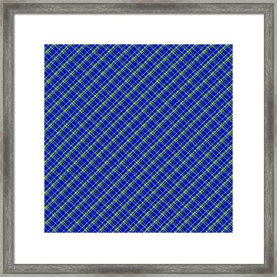 Blue And Green Diagonal Plaid Pattern Cloth Background Framed Print by Keith Webber Jr