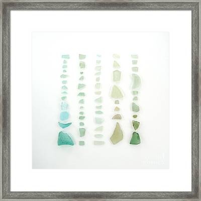 Blue And Green Sea Glass Framed Print by Jennifer Booher